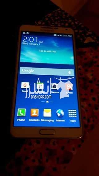 - موبایل نوت 3 سامسونج بحاله ممتازه لونه أبيض مع جراب سعره مميز...