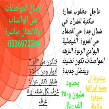 -                          مطلوب عمارة سكنية للشراء  شمال جدة...