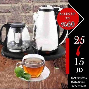 -                          سخان ماء و شاي كهربائي طقم 2 في 1 من...